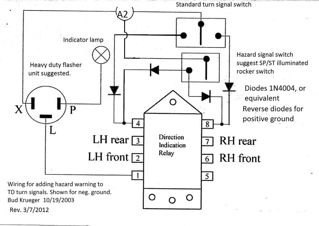 Add On Turn Signal Switch Wiring Diagram List Of Schematic Circuit 1970 Chevelle Adding Hazard Warning To Td Signals Rh Ttalk Info