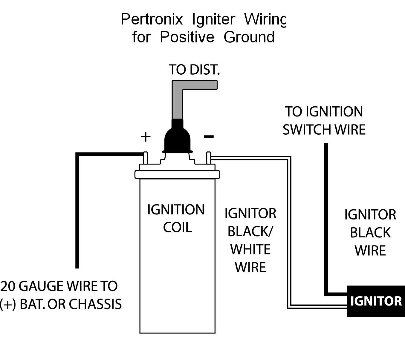 pertronix positive ground wiring probably the most significant thing to note is that the pertronix igniter module is connected between the coil and the ignition line not between the coil